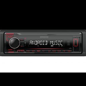 Kenwood KMM-104RY auto radio sa ugrađenim Bluetooth-om i USB konektorom, kompatibilan sa iOS i Android uređajima, LCD displejom itd.
