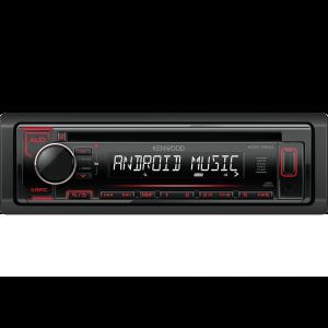Kenwood KDC-120UR Auto radio snage 4x50W sa prednjom pločom koja se skida, USB konektorom, kompatibilan sa iOS i Android uredajima, LCD displejom itd.