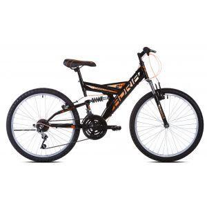"""CAPRIOLO Adria DAKOTA 24/18HT crno oranž 16 Bicikl za decu, sa čeličnim ramom, 24"""" točkovima, crno oranž boje, namenjan dečacima od 9 do 11 godina."""