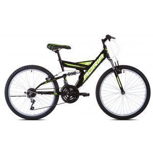 """CAPRIOLO Adria DAKOTA 24/18HT crno zeleno 16 Bicikl za decu, sa čeličnim ramom, 24"""" točkovima, crno zelene boje, namenjan dečacima od 9 do 11 godina."""