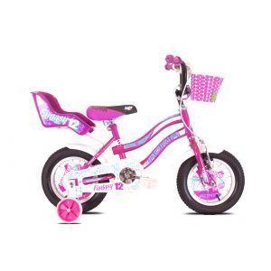 """CAPRIOLO Adria Fantasy 12 HT Ljubičasti Bicikl za decu, sa čeličnim ramom, 12"""" točkovima, crno roze boje, namenjan devojčicama uzrasta od 2 do 5 godina."""