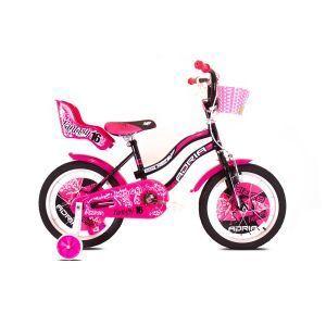 """CAPRIOLO Adria Fantasy 16 HT crno pink Bicikl za decu, sa čeličnim ramom, 16"""" točkovima, crno roze boje, namenjan devojčicama uzrasta od 6 do 8 godina."""