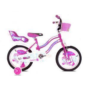 "CAPRIOLO Adria Fantasy 16 HT ljubičasti Bicikl za decu, sa čeličnim ramom, 16"" točkovima, ljubičaste boje, namenjan devojčicama uzrasta od 6 do 8 godina."