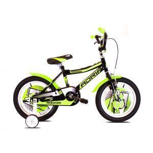 """CAPRIOLO Adria ROCKER 16 HT Crno zeleni Bicikl za decu, sa čeličnim ramom, 16"""" točkovima, crno zelene boje, namenjan dečacima uzrasta od 4 do 6 godina."""