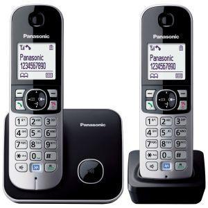 """Panasonic KX-TG6812FXB Bežični telefon sa dve slušalice u kompletu, grafičkim svetlećim LCD displejom od 1.8"""" i Eco dect tehnologijom smanjenog zračenja."""