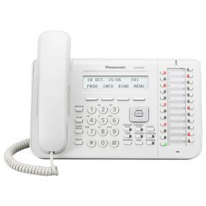 Panasonic KX-DT543 sistemski telefon sa trorednim LCD ekranom, 24 fleksibilnih funkcijskih tastera, One-touch i Full Duplex Speakerphone funkcijom.