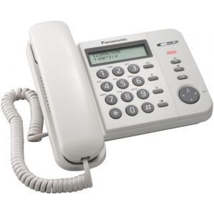 Panasonic KX-TS560FXW Žični telefon sa 2-rednim LCD displej mogućnošću prikaza do 50 brojeva,imenikom od 50 brojeva,lampicom za indikaciju dolaznih poziva..