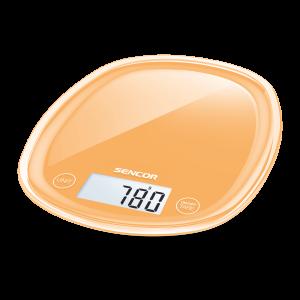 Sencor SKS 33OR kuhinjska vaga sa senzorima osetljivim na dodir velikim LCD ekranom i funkcijom za poništavanje težine posude u kojoj se meri.