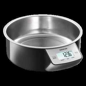 Sencor SKS 4030BK kuhinjska vaga sa senzorima osetljivim na dodir velikim LCD ekranom i funkcijom za poništavanje težine posude u kojoj se meri.