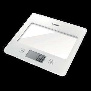 Sencor SKS 5020WH kuhinjska vaga sa senzorima osetljivim na dodir velikim LCD ekranom i funkcijom za poništavanje težine posude u kojoj se meri.