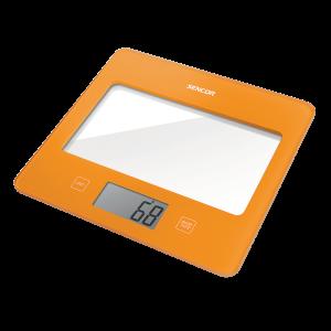 Sencor SKS 5022OR kuhinjska vaga sa senzorima osetljivim na dodir velikim LCD ekranom i funkcijom za poništavanje težine posude u kojoj se meri.