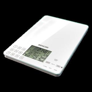 Sencor SKS 6000 kuhinjska vaga sa senzorima osetljivim na dodir, prikazuje sadržaj kalorija, natrijuma, proteina, masnoća, ugljenih hidrata i vlakana koristeći 999 unapred programiranih šifri namirnica