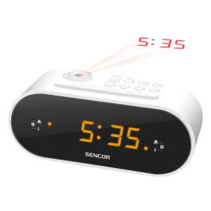 Sencor SRC 3100 W radio budilnik sa LED ekran od 0,9 inča za buđenje uz alarm ili podešene radio stanice.