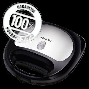 Sencor SSM 9400 Sendvič toster za sendviče, vafle i grilovanje - 3 u 1 od nerđajućeg čelika sa metalik završnicom i 3 zamenljiva kalupa za pečenje.