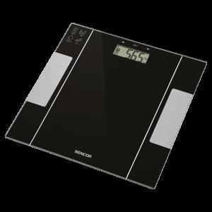 Sencor SBS 5050BK Telesna vaga sa velikim LCD ekranom koja meri težinu po principu bioelektrične impedanse (BIA): masti (u procentima), voda (u procentima)