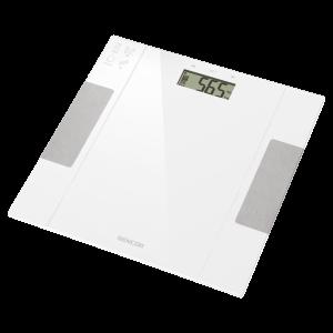 Sencor SBS 5051WH Telesna vaga sa velikim LCD ekranom koja meri težinu po principu bioelektrične impedanse (BIA): masti (u procentima), voda (u procentima)