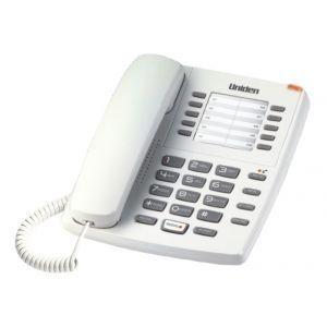 Uniden AS7201W Žični telefon sa svetlosnim indikatorom za poruke, 10 memorijskih tastera, flash i redial dugmetom i  mogućnošću montiranja na zid.
