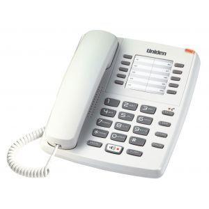Uniden AS7301W Žični telefon sa svetlosnim indikatorom za poruke, 10 memorijskih tastera, redial tasterom, spikerfonom i mogućnošću montiranja na zid.